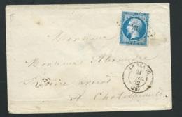 LSc  Par Yvert N° 14 ( II )  Oblitéré Pc 404 ( Le Blanc , Indre , Le 21/07/1862 LX1521 - Marcophilie (Lettres)
