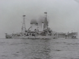 Rare!  Belle Grande Photo Ancienne Cuirassé Louisiana Tampon à L'arriere Militaria Navire - Guerre, Militaire