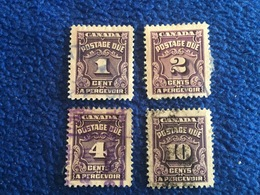 Canada  1939, Scott #s J 15-17 & 20 Set Of 4 Postage Due Stamps,  Canceled & Hinged - Used Stamps