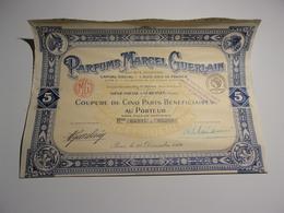 PARFUMS MARCEL GUERLAIN  (titre De 5 Parts Bénéficiaires) 1924 - Non Classés