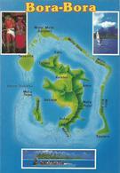 V3437 Bora Bora - Carta Geografica Map Carte Geographique / Non Viaggiata - Carte Geografiche