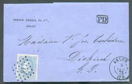 N°31 - 20 Centimes Bleu, Obl. LP. 16 Sur Lettre D'ARLON En Port Préférentiel Vers Le Grand Duché De Luxembourg (Diekirch - 1869-1883 Leopold II.