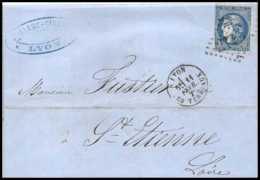 1115 LAC Lettre (cover) N°46B Bordeaux GC 2145A Lyon Rhone 11/12/1871 Pour Saint-Etienne Loire France TB - Postmark Collection (Covers)