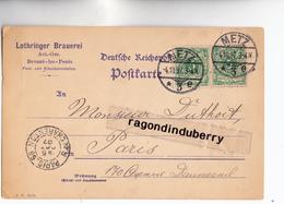 CPA - 57 - METZ DEVANT-LES-PONTS - LOTHRINGER BRAUEREI (BRASSERIE LORRAINE) Cachet BRASSERIE Au Verso Voy 1897 - RARE - - Metz