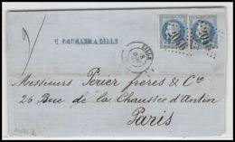 1254 Lettre (cover) N°29 GC 2046 Lille Nord 18/04/1868 Paire Lettre Résultats De Recherche - France Type Napoléon 3 - Postmark Collection (Covers)