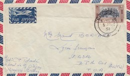 COVER CEYLON. 5 10 1951. BOARD OREGON MESSAGERIES MARITIMES. COLOMBO TO BPM POSTE AUX ARMEES 601 T.O.A. AUSTRIA. - Briefmarken