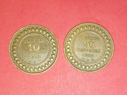 ANCIENNE TTB 10 Centimes 2 Pieces De Monnaies Tunisie Cuivre 1912/1916  TTB - Tunisie