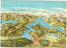 V3443 Veduta Generale Dei Laghi Di Como E Di Lugano - Carta Geografica Map Carte Geographique / Viaggiata 1963 - Carte Geografiche