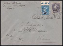 1639 Lettre (cover) N°217 / 218 Semeuse Pour Tours Indre Et Loire 1928 55c - Marcofilia (sobres)