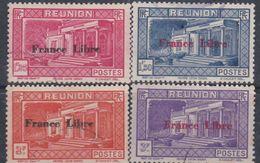"""Réunion N°  208 / 09 + 211 / 12  O  Partie De Série : Timbres Surchargés """"France Libre"""", Les 4 Vals Obli. Moy. Sinon TB - Oblitérés"""