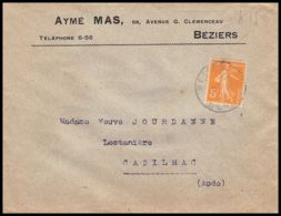 1497 Lettre (cover) N°158 Type Semeuse Béziers Hérault Seul Lettre Tb - Postmark Collection (Covers)