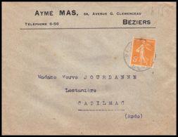 1497 Lettre (cover) N°158 Type Semeuse Béziers Hérault Seul Lettre Tb - 1877-1920: Periodo Semi Moderno