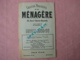 """Hiver 1898/99 Très Interessant Catalogue """" A LA MENAGERE """" Paris  TBE - France"""