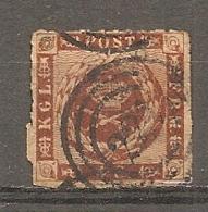 Yv. DK  N°  10  Percé En Ligne  (o)  4s Brun-jaune  Cote  22,5 Euro BE R 2 Scans - 1851-63 (Frederik VII)