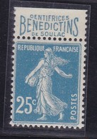PUBLICITE SEMEUSE 25C BLEU BENEDICTINS ACCP N°41 NEUF* CHARNIERE TRES LEGERE - Advertising