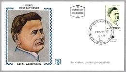 Cientifico AARON AARONSOHN (1876-1919). Judaismo - Judaica. SPD/FDC Jerusalem 1979 - Celebrità