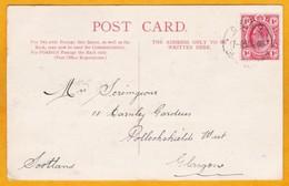 1908  CSAR Railways Cancel On KEVII 1 D Stamp - Postcard From Johannesburg To Glasgow, Scotland - South Africa (...-1961)