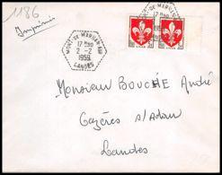 3585 France Lettre (cover) N°1186 Armoiries De Villes. Lille. - Mont De Marsan 2/2/1959 - Marcophilie (Lettres)