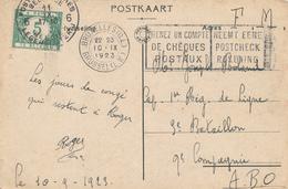 """138/28 - Carte """" Leve Den Troep """" En S.M. BRUXELLES 1923 Vers A.B.O. - Taxation Simple à  5 C Postes Militaires 6 - Military Post"""
