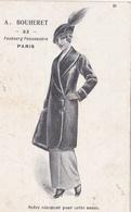 CPA Publicitaire Publicité A. BOUHERET à PARIS (75) Magain De Vêtements Femme Mode Chapeau Hat (2 Scans) - Publicidad