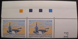 Lot 1876 - 2003 - PORTE-AVIONS CHARLES DE GAULLE - (PAIRE) N°3557 TIMBRES NEUFS** COIN DE FEUILLE - France