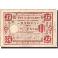 Billet, Espagne, 50 Centimos, GUIXOLS, Blason, 1937, 1937, TB+ - Espagne