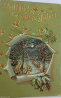 """""""Neujahr, Lanschaft, Klee"""" 1906, Golddruckkarte ♥  - Neujahr"""
