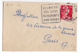 1957-Lettre De LES RICEYS-10 Pour PARIS-75--Daguin (Sites,Monuments,Vins Rosés)-type Marianne Muller- - Marcophilie (Lettres)