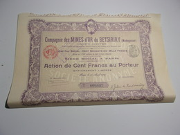 MINES D' OR DU BETSIRIRY (madagascar) - Aandelen