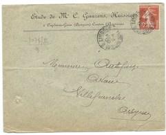 ENVELOPPE / SEMEUSE 10c / AMBULANT LIMOGES A TOULOUSE / 1909 / HUISSIER GAUZENS CAPDENAC - Storia Postale