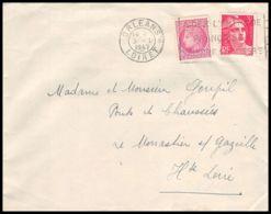 6396/ France Lettre (cover) Orléans Loiret 1947 Pour Le Monastier-sur-Gazeille Haute Loire - Postmark Collection (Covers)