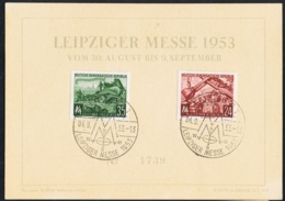 1953 Leipziger Messe  Mi DD 380 381  Sn DD 172 173 Yt DD 113 114 Sg DD E138 139 Auf Postkarte Mit Sonderstempel - DDR
