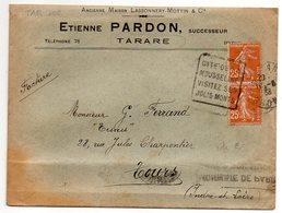 1938-Lettre De TARARE-69 Pour TOURS-37--Daguin (Cité Mousseline,Jolis Monts)-type Semeuse-Etienne PARDON-Mousseline - Marcophilie (Lettres)