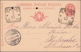 Italien Postkarte P 29 König Humbert I. Druckjahr 901, CHIARI (BRESCIA) 3.2.1902 - Italia