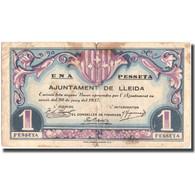 Billet, Espagne, Lleida 1 Peseta, N.D, 1937, 1937, TB - Espagne