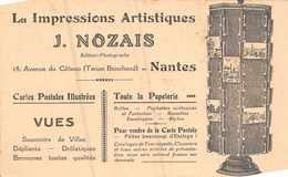 NANTES  -  Carte Avec DOS Publicitaire Des Editions J.NOZAIS , 18 , Avenue Du Coteau - Nantes