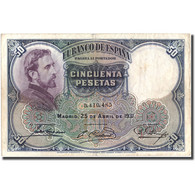 Billet, Espagne, 50 Pesetas, 1931, 1931-04-25, KM:82, TB+ - [ 1] …-1931 : Premiers Billets (Banco De España)
