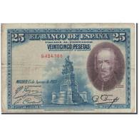 Billet, Espagne, 25 Pesetas, 1928, 1928-08-15, KM:74a, B+ - [ 1] …-1931 : Premiers Billets (Banco De España)