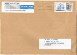 FRANCE MAILED COVER WITH ELECTRONIC STAMP LABEL LA ROCHELL QR CODE MOM TIMBRE - France
