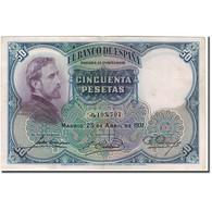 Billet, Espagne, 50 Pesetas, 1931, 1931-04-25, KM:82, TTB+ - [ 2] 1931-1936 : République