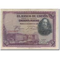 Billet, Espagne, 50 Pesetas, 1928, 1928-08-15, KM:75a, TB+ - [ 1] …-1931 : Premiers Billets (Banco De España)
