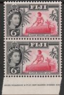 """Fiji  1962  """"6d  QE2 - Part Imprint"""" X 2  MNH   (**) - Fiji (...-1970)"""