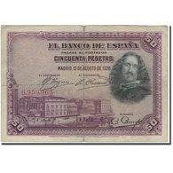 Billet, Espagne, 50 Pesetas, 1928, 1928-08-15, KM:75a, B+ - [ 1] …-1931 : Premiers Billets (Banco De España)