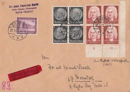 DR Brief Eilbote Mif Minr.4x 512,4x 574 UER 4er Block Formnummer,642 Zahna 23.7.37 - Briefe U. Dokumente