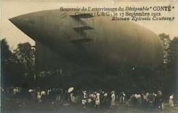 221218 - CARTE PHOTO AVIATION  41 COUTURE 17 Sept 1912 Souvenir De L'atterrissage Du Dirigeable CONTE Bluteau épicerie - Francia