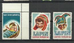 FINLAND FINNLAND 3 Vignetten Sami Lapland For Lappish Children Charity Poster Stamps - Erinnophilie