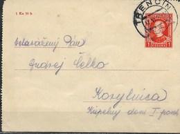E59-SLOVAKIA 1939-POSTCARD -ANDREJ HLINKA -ORANŽ-RED FARBE - 1 KORUNA - Slovacchia