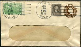 USA 1937 GUAM Uprated Postal Stationery Window Envelope Cover Ganzsache Umschlag Entier - Guam