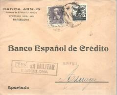 CARTA CENSURA  MILITAR  BARCELONA VIÑETA - Marcas De Censura Nacional