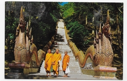 (RECTO / VERSO) THAILANDE - THREE BUDDHIST MONKS POST ON GROUND FLOOR - BEAU TIMBRE - FORMAT CPA VOYAGEE - Thailand